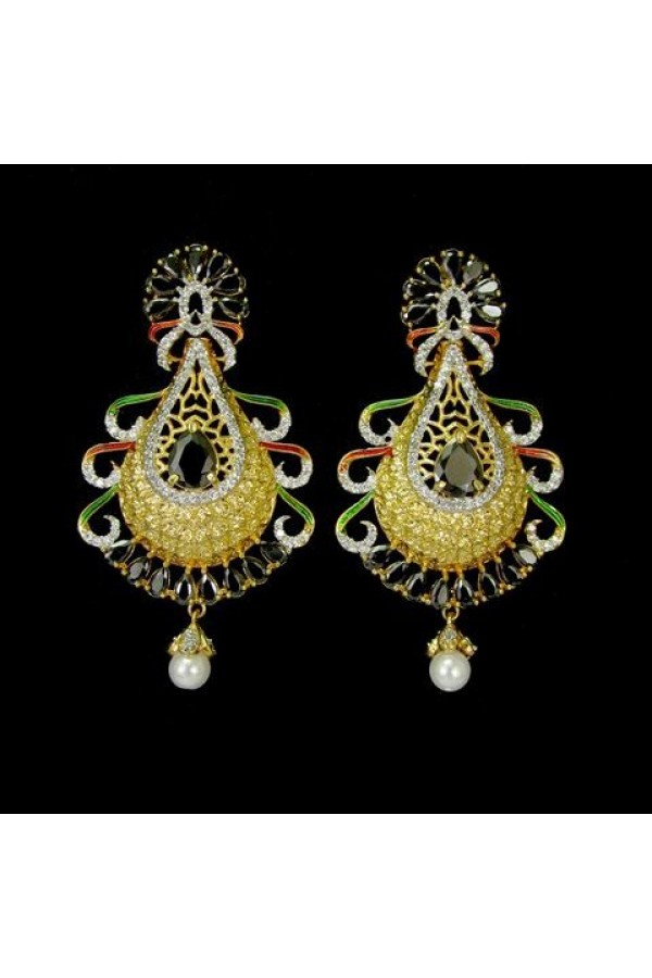 Wedding  Wear Indian CZ Jhumka - 91492