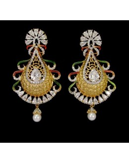 Designer  Indian CZ Jhumka - 91496
