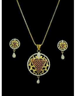 Designer Diamond Pendant With Earrings - 82081