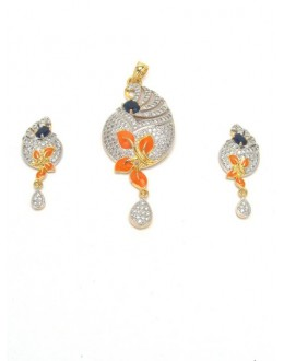 Designer Diamond Pendant With Earrings - 87671