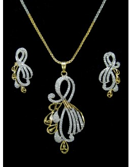 Designer Diamond Pendant With Earrings - 87826
