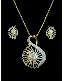 Designer Diamond Pendant With Earrings - 88100