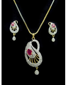 Designer Diamond Pendant With Earrings - 88107