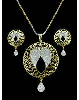 Designer Diamond Pendant With Earrings - 88464