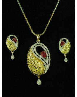 Designer Diamond Pendant With Earrings - 89927