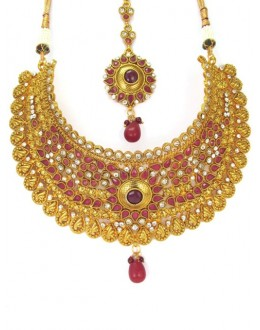 Bridal Wear Polki Necklace Set - 85145