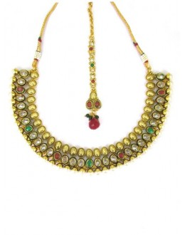 Designer Polki Necklace Set - 85995