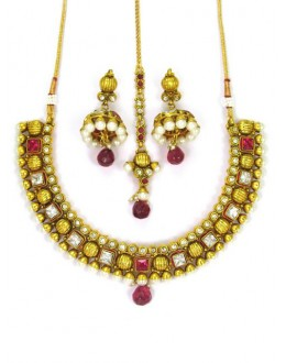 Designer Polki Necklace Set - 86012