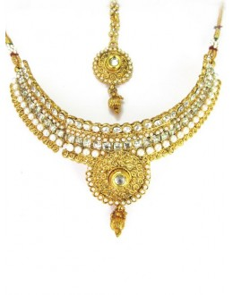Bridal Wear Polki Necklace Set - 87723