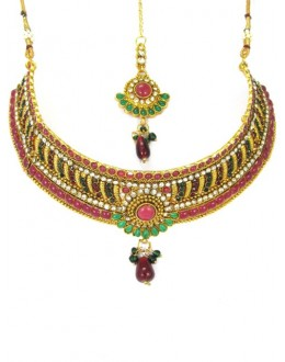 Bridal Wear Polki Necklace Set - 89412