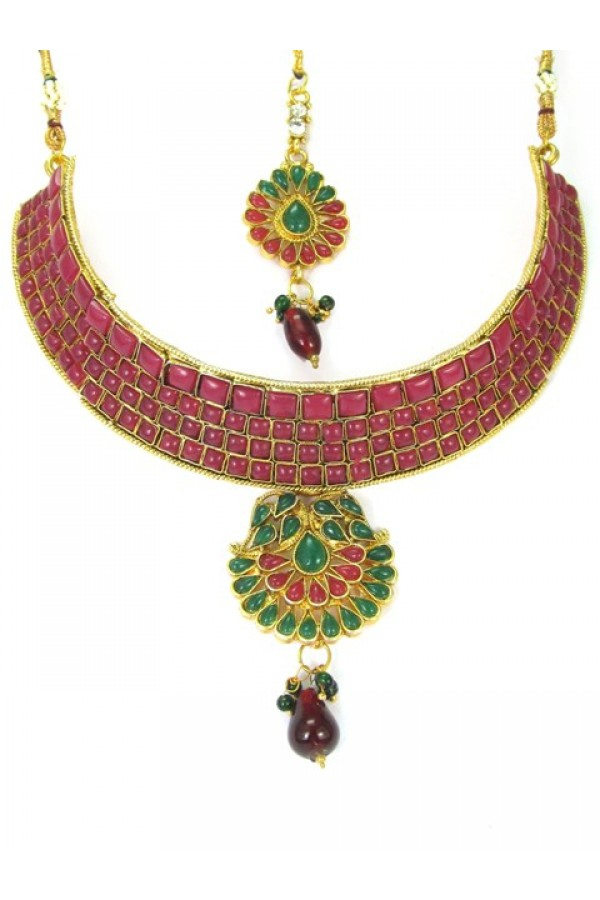Designer Polki Necklace Set - 89415
