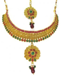 Bridal Wear Polki Necklace Set - 89418