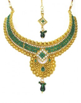 Bridal Wear Polki Necklace Set - 89419