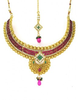 Bridal Wear Polki Necklace Set - 89421