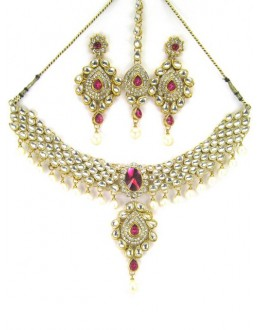 Bridal Wear Polki Necklace Set - 89715