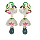 Designer Diamond Studded Indian Fancy Traditional CZ Earrings - 85639 ( SD - AD Earrings Vol 9 )