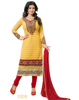 Eid Special Designer Yellow & Red Embroidered Party Wear Salwar Suits-1009(SD-Heena)Karishma
