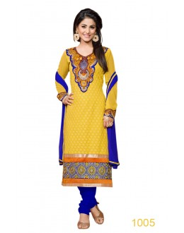 Eid Special Designer Yellow & Royal Blue Embroidered Party Wear Salwar Suits-1005(SD-Heena)Karishma