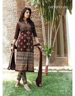 Designer Unstitched Dark Brown Embroidered Cotton Straight Churidar Party Wear Suit-401-D(SD-PH)