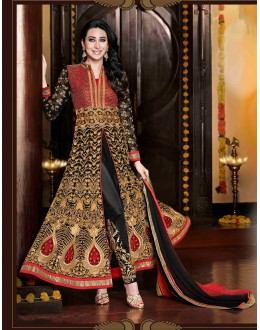 Eid Special Karishma Kapoor In Designer Black Embroidered Anarkali Suit-11001-A( SD-Rani )Karishma