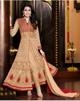 Eid Special Karishma Kapoor In Designer Cream & Red Embroidered Anarkali Suit-11001-B( SD-Rani )Karishma