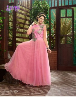 Designer Fancy Baby Pink Soft Net Party Wear Gown-1014 ( SDF-Sayna )