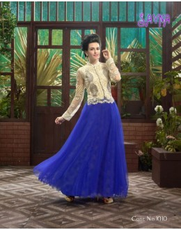 Designer Fancy Off-White & Royal Blue Soft Net Party Wear Gown-1010 ( SDF-Sayna )