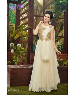 Designer Fancy Off-White Soft Net Party Wear Gown-1013 ( SDF-Sayna )