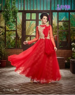 Designer Glamorous Red Soft Net Party Wear Gown-1009 ( SDF-Sayna )