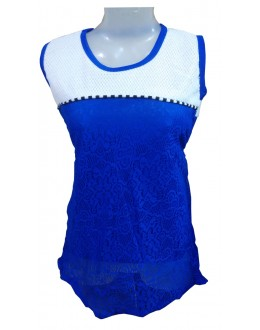 Designer Blue & White Net Embroidered Party Wear Top - TOP48 (SD-FASHION)