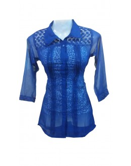 Designer Blue Georgette Embroidered Party Wear Shirt - SHIRTB1 (SD-FASHION)