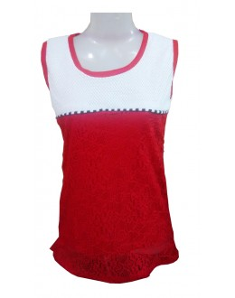 Designer Red & White Net Embroidered Party Wear Top - TOP57 (SD-FASHION)