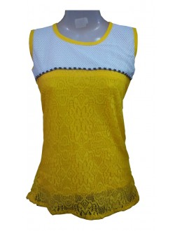 Designer Yellow & White Net Embroidered Party Wear Top - TOP61 (SD-FASHION)