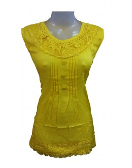 Designer Yellow Cotton Embroidered Casual Wear Top - TOP63 (SD-FASHION)