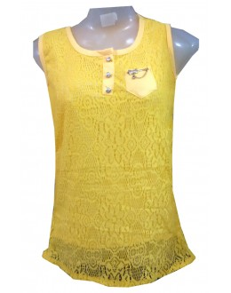 Designer Yellow Net Embroidered Party Wear Top - TOP29 (SD-FASHION)