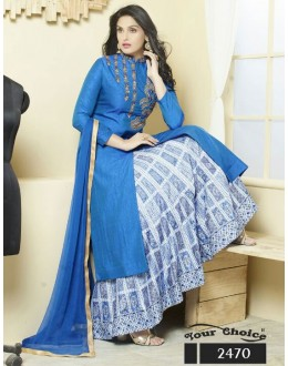 Party Wear Blue & White Silk Lehenga Suit  - 2470