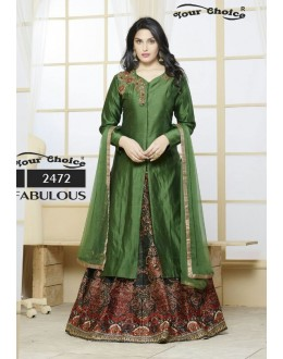 Ethnic Wear Green Silk Lehenga Suit  - 2472