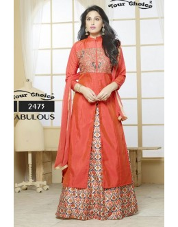 Ethnic Wear Orange Silk Lehenga Suit  - 2473