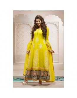 Diwali Special Designer Yellow Georgette Long Party Wear Anarkali Suit - 11491 ( SD )
