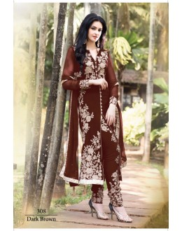Designer Dark Brown Georgette Embroidered Salwaar Kameez-308C ( SD-308 )