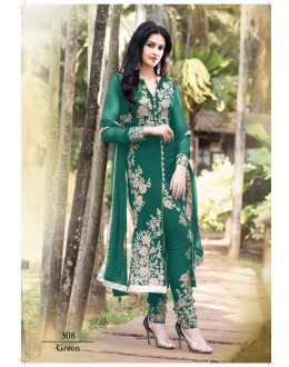 Designer Teal Green Georgette Embroidered Salwaar Kameez-308D ( SD-308 )
