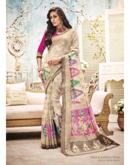 Festival Wear Cream & Pink Saree  - 21141