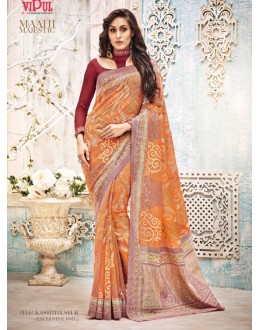 Ethnic Wear Orange & Maroon Saree  - 21142