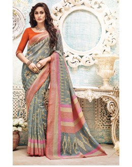 Ethnic Wear Grey & Orange Saree  - 21147
