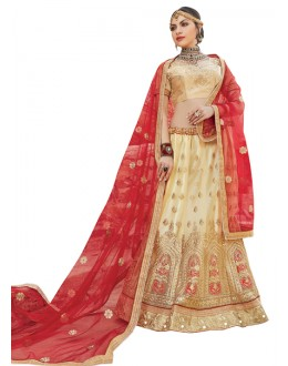 ?Traditional Beige Net Lehenga Choli - AALIYA12004
