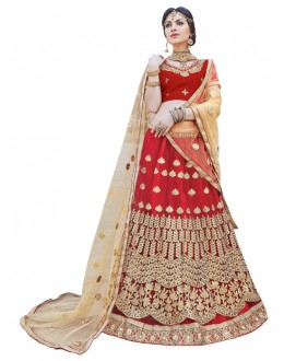 Bridal Wear Maroon Net Lehenga Choli - AALIYA12005