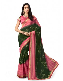 Georgette Pink & Green Saree - 5027