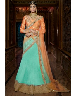 Traditional Blue & Peach Australian Silk Lehenga Choli - 11116