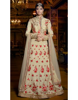 Wedding Wear Beige Australian Silk Lehenga Choli - 11119
