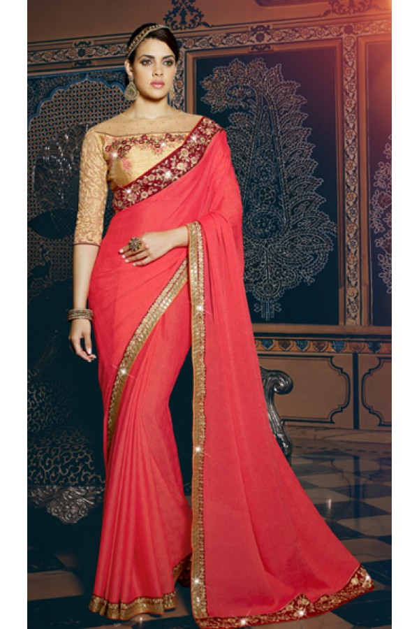 Ethnic Wear Pink & Beige Embroidered Saree  - 3001